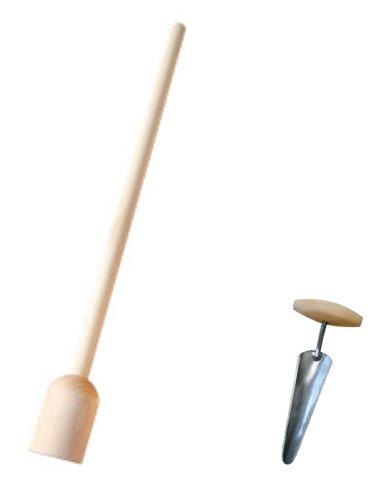 Krautstampfer 60 cm, Sauerkrautstampfer + Edelstahl Krautbohrer 23 cm