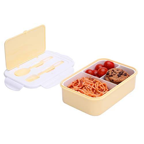 1000 ml Brotdose für Kinder Und Erwachsene, Bento Box Lunchbox mit 3 Fächern und Besteck, Vesperdose Mikrowelle Heizung (Gelb)