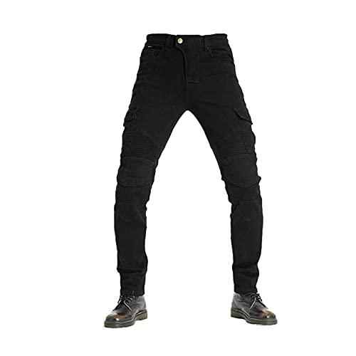 Pantalones vaqueros de motocicleta para hombre, pantalones de carga elásticos ajustados para motorista con forro protector para motocross (negro, L)