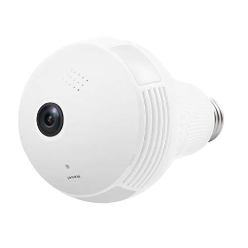 H HILABEE WiFi 960P HD Bombilla Oculta Cámara Espía Cámara De Seguridad Panorámica De 360 ° Inicio - Luz Blanca 960P