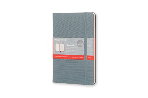 "Moleskine Two-Go Textile Notebook, Hard Cover, Medium (4.5"" x 7"") Steel Blue, 144 Pages"