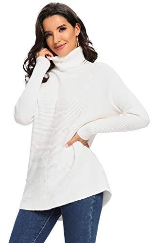 Avacoo Damen Rollkragenpullover Lang Strickpullover Fledermausärmel Dick Pullover Elegant Weiß M 38