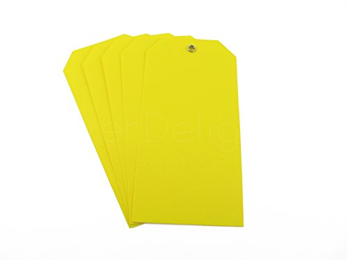 """100 Pack - CleverDelights Yellow Plastic Tags - 4.75"""" x 2.375"""" - Tear-Proof and Waterproof - Inventory Asset Identification Price Tags Photo #2"""