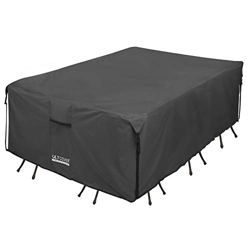 ULTCOVER 600D Tough Canvas Durable Rectangular Patio Table and Chair Cover - Waterproof Outdoor General Purpose Furniture Covers 111 x 74 inch, Black