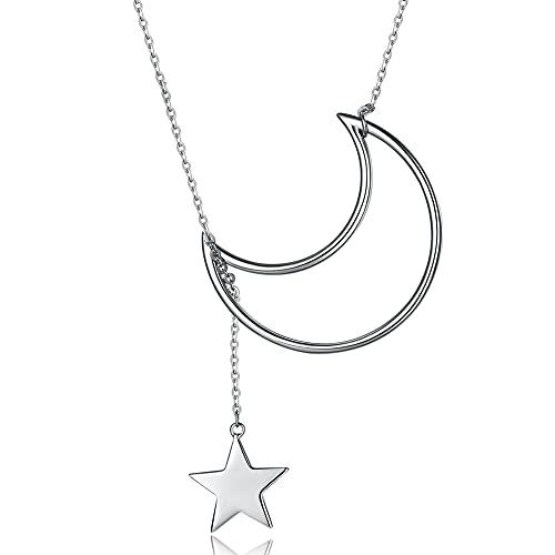 Collane in argento sterling 925 per le donne Collana con stelle piccole della luna grandeRegalo sempliceElenco digioielli raffinati