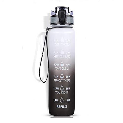 UHDC Botella De Agua a Prueba De Fugas De Gran Capacidad Botella Deportiva Portátil Ecológica con Botella De Bebida con Marca De Tiempo Gradiente Blanco-Negro