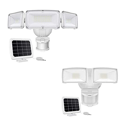 LEPOWER Solar LED Security Lights Outdoor, Adjustable Head Solar Motion Sensor Light