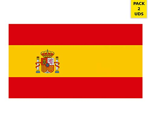 Oedim Pack 2 Banderas de España   Medidas 85x150cm   Reforzada y con Pespuntes   Bandera de España y 4 Ojales Metálicos   Resistente al Agua