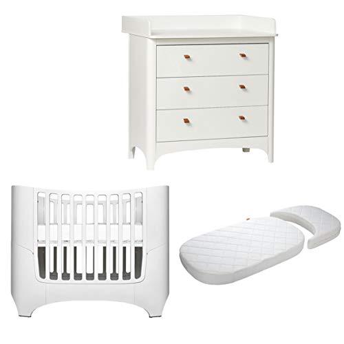 Leander Baby-, Kinderbett + Juniorbett Classic inkl. Matratze in weiß + Leander Classic Wickelkommode mit 3 Schubladen in weiß