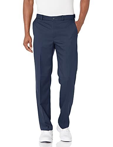 PGA TOUR Men's Flat Front Golf Pant with Expandable Waistband, Black Iris, 36W x 32L