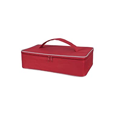 KAF Home  Portable Insulated Casserole Dish Carrier with Handle, Red, 3.5 x 14.5 x 8.75-Inches