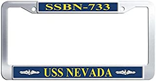 Nuoousol Stainless Steel Auto License Plate Frame, Hippie USS Henry Clay SSBN-625 Officer Waterproof Metal License Plate Frame Holder with Bolts Washer Caps for US Standard