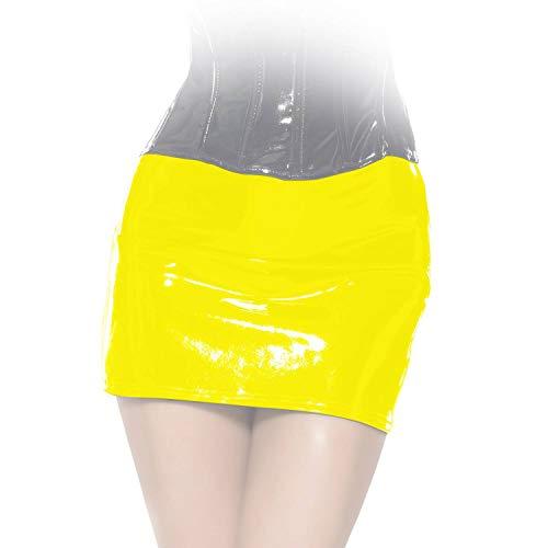 Insistline - Scharfer Knapper Datex Minirock mit Zip gelb - Gr. M