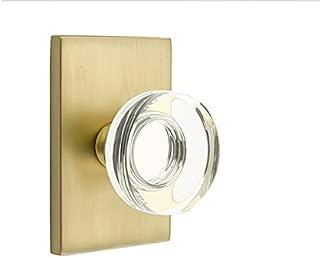 Privacy Set, Modern Rectangle Rosette, Modern Disc Crystal Knob, Satin Brass