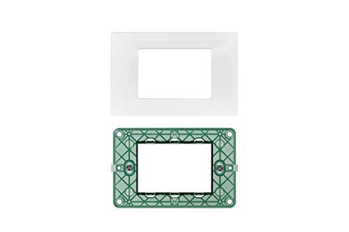 LineteckLED -Serie Completa di Placche per Interruttori Prese- Kit Placca 3 Posti 3M Compatibile Vimar Serie Plana + Supporto 3 Posti Compatibile Vimar (BIANCA)