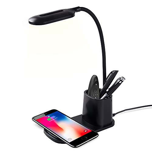 LED Desk Lamp with Wireless Charger, Touch Control Table Lamps with 360°Flexible Metal Hose & Pen Holder, 3 Color Modes Eye-Caring Office Lamp, Desk Light for Home, Office, Bedroom (Black)
