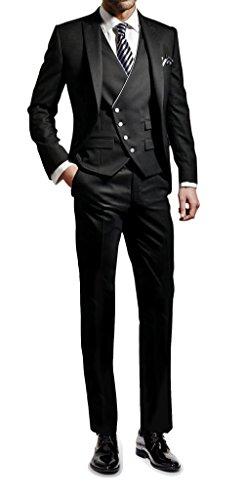 Suit Me Herren 3-Teilig Anzug Slim Fit Hochzeiten Party Smoking Anzuege Sakko,Weste,Hose Schwarz 3XL