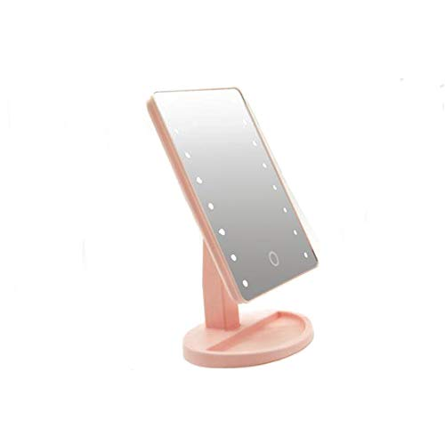 MINGZE Espejo Iluminado de Maquillaje, Interruptor de Pantalla táctil, rotación de 180 Grados, Comodidad portátil y Espejo cosmético de Alta definición (Rosado)