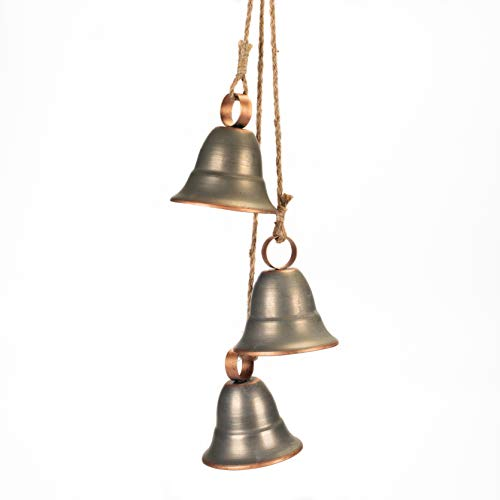 Melrose 3 Gray Decorative Hanging Bells on Rope Ornament