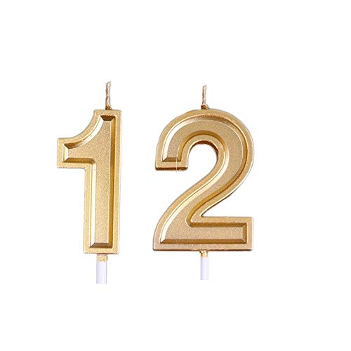 Mart Gold 12th Birthday Candles, Number 12 Cake Topper for Birthday Decorations