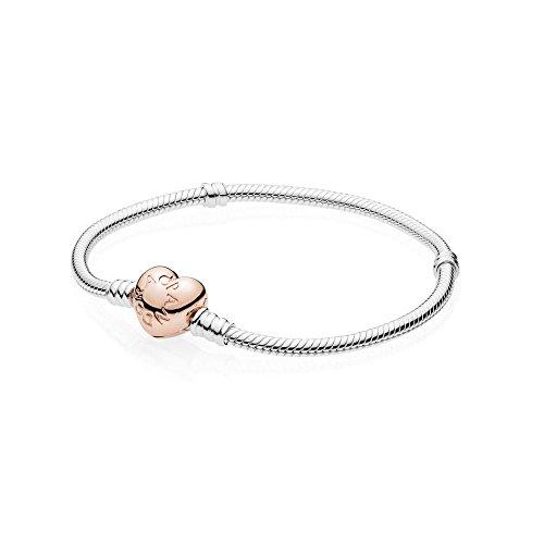 Pandora Pulsera con cierre de corazón, 19 cm, rosa