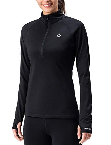 NAVISKIN Playera Deportiva Térmica para Mujer Camiseta Casual Tops de Manga Larga de Correr Running Fitness Entrenamiento Half Zip Bolsillos Laterales, Negro XXL