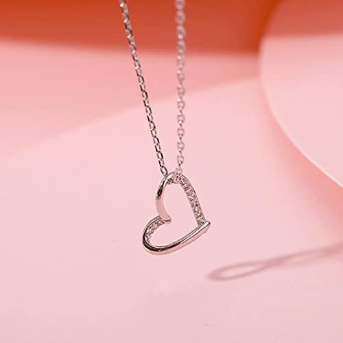 Collares Joyería Colgantes Collar con Colgante De Cadena De Clavícula En Forma De Corazón De Personalidad Simple De Oro Rosa De Plata De Ley 925 para