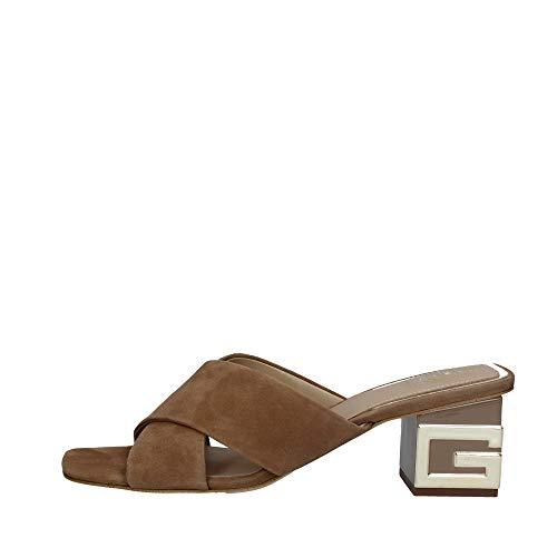 Guess Scarpe Sandalo con Tacco Madra TC 60 Suede Color Taupe Donna DS20GU46
