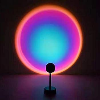 TIK Tok Sunset Lamp Projector Adjustable 180 Degree Rotation Rainbow USB Led Night Light Projector Lamp for Bedroom,Romantic Decorations for Living Room  Rainbow