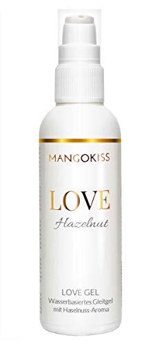 MangoKiss LOVE HAZELNUT - Essbares Gleitgel mit Haselnuss Geschmack - Veganes Gleitmittel auf Wasserbasis, kondomgeeignet - Hergestellt in Deutschland