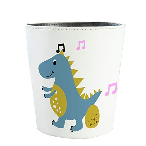 Mecotecn Papierkorb Kinder, 10L Wasserdicht PU Leder Mülleimer Abfalleimer Papierkörbe für Kinderzimmer, Büro, Schlafzimmer - Dinosaurier