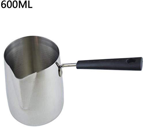 Kaffee und Tee Flasche 350/600 / 1000ML Butter Kaffee und Tee Milch-Wärmer Isolierung Edelstahl-Topf Stiel Pull Butter Melting Pots (Color : 600ml)