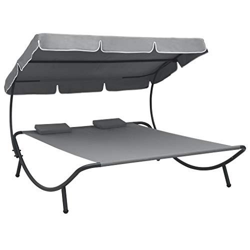 Doppel Sonnenliege Doppelliege mit Dach Gartenliege für 2 Personen, Relaxliege Gartenbett Loungebett Sonnenbett Liegebett für Garten Terrasse Schwimmbad, Grau