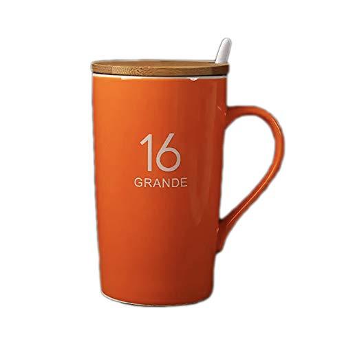 Semplice tazza da caffè tazza da tè 453,6 g, colore arancione con coperchio in bambù, per casa, cucina, ufficio, regalo per familiari e amici