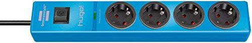 Brennenstuhl hugo! Steckdosenleiste 4-fach mit Überspannungsschutz (2m Kabel und Schalter, Gehäuse aus bruchfestem Polycarbonat) blau