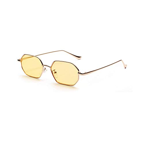 Hombres Retro Gafas De Sol Gafas De Sol De Moda para Mujer, Retro, Clásico, Amarillo, Polígono, Gafas De Sol para Mujer, Espejos Negros Vintage, Lentes Transparentes De Color, Gafas De Sol