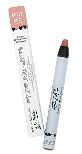 Beauty Made Easy Le Papier Vegan Moisturizing Plastic Free Lipstick with Shea Butter, Glossy Nudes DUSTY ROSE 6 g