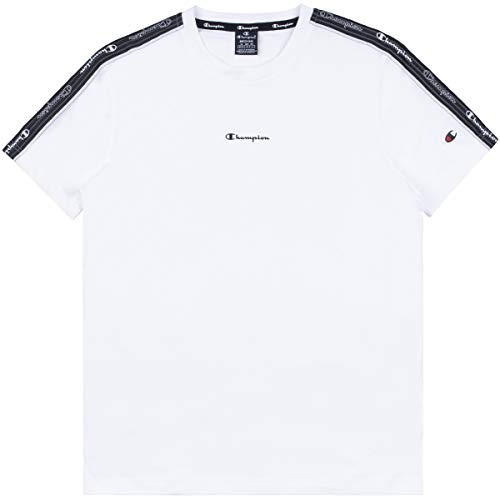 Champion Seasonal American Tape Crewneck T-Shirt, White, S Uomo