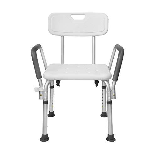 LZQ Sedia da doccia regolabile in altezza a 5 livelli, 37,5 - 50,5 cm, con braccioli e schienale antiscivolo, seduta in alluminio e plastica HDPE
