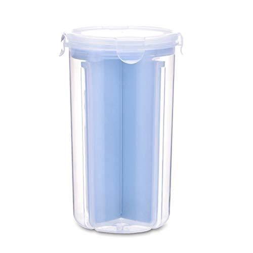 Vorratsdosen Müslibehälter Schüttdose Streudosen Haushaltsdosen 2/4 Abschnitt Partition BPA frei Kunststoff Vorratsdosen luftdicht für Cornflakes, Getreide, Reis, Zucker usw (L, Blau)