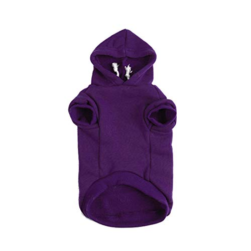 uxcell Pet Dog Hooded Hoody Sweatshirt Clothes Cotton Apparel Puppy Cat Winter/Spring/Fall Costume Outfits Fleece Warm Coat Purple XS