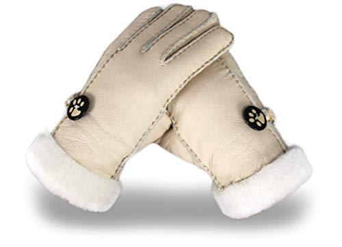 Bernice Winifred Russische Winterlederhandschuhe dame warme handschuhe leder schaffell handschuhe echte wolle Futter Eine Vielzahl von Farben off white Länge 24 cm breit 9 5