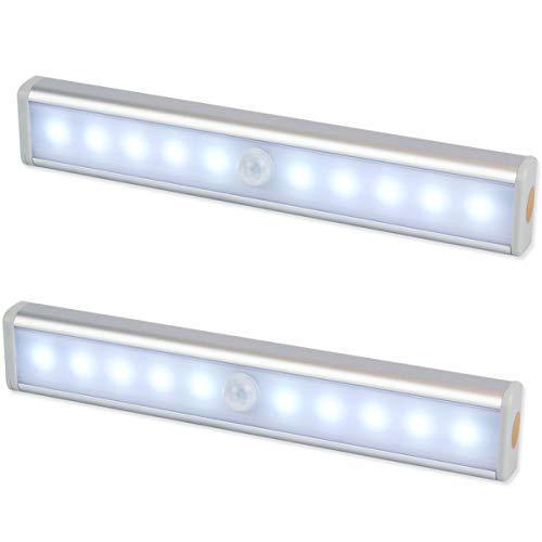 """Emiup, illuminazione a 10 LED con sensore di movimento, alimentato a batteria, senza cavi, con striscia magnetica e adesivo """"3M"""", per armadio, armadietto, scale, bagno (2pezzi)"""