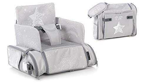 Jané Avant borsa seggiolone alzasedia - alzabimbo - seggiolino da tavolo - nuovo modello con protezioni laterali omologate (T88 Grey land)