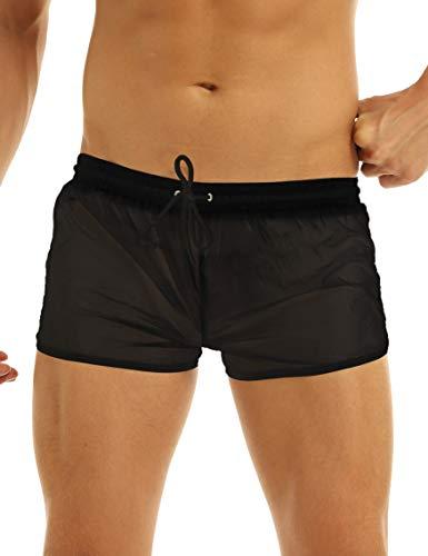 Lejafay Herren-Badehose für Erwachsene, durchsichtig, mit Kordelzug, schnelltrocknend, Strand-Shorts, Sommer-Badehose - Schwarz - Mittel
