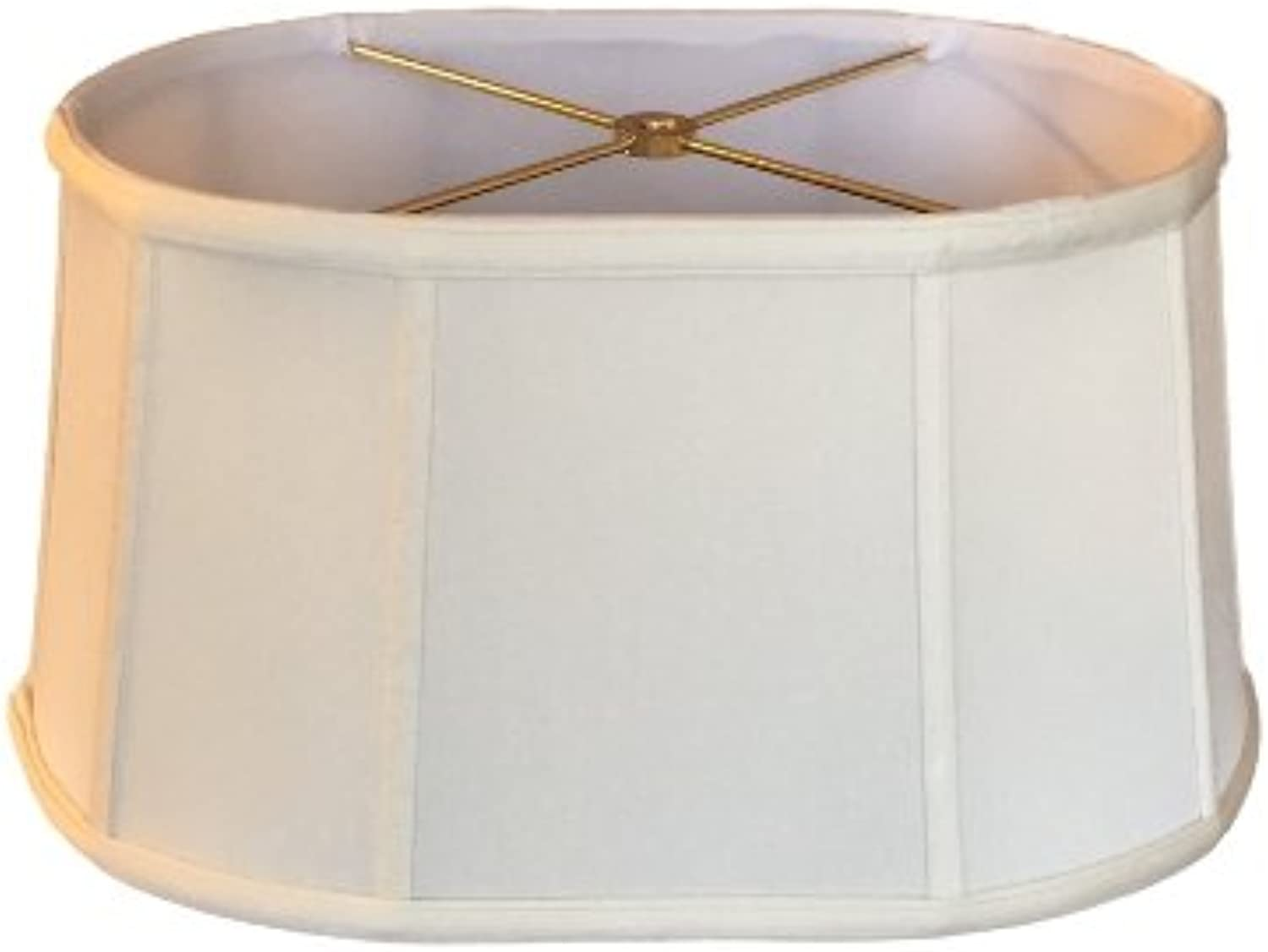 Upgradelights 16 Inch Shallow Retro Oval Washer Lampshade (Off White)