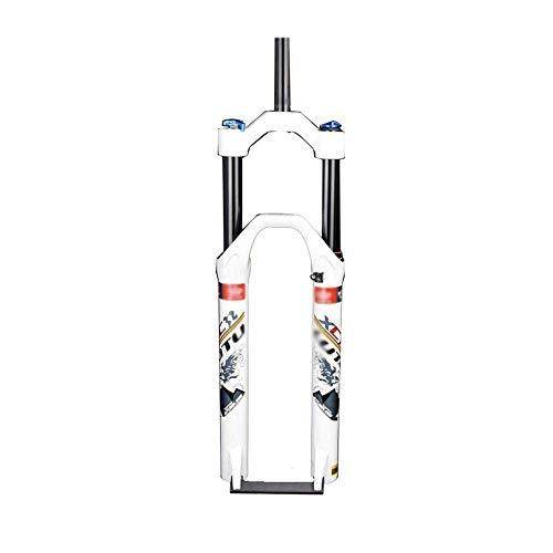 HJRD Air MTB Horquilla de suspensión para Bicicleta 26/27.5/29 Tubo Recto 28.6 mm QR 9 mm Recorrido 120 mm Manual/Crown Lockout XC Horquilla para Bicicleta Ultraligero, blanco-29 Pulgadas