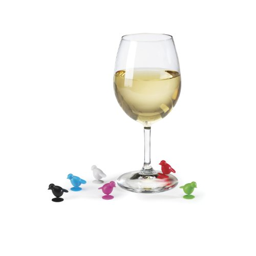 Umbra Perch 6 Bird Rubber Wine Glass Charms