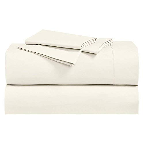 Royal Hotel Abripedic Crispy Percale Sheets, 300-Thread-Count, 4PC Solid Sheet Set, 100% Cotton, 22 Inch Super Deep Pocket, Queen, Ivory