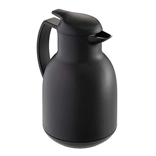 Leifheit Bolero 1, 0 L Isolierkanne, 100% dicht, Thermoskanne mit doppelwandigem Vakuum-Glaskolben, praktisches Öffnen und Schließen mit einer Hand, Kaffekanne, Teekanne, schwarz, gefrostet